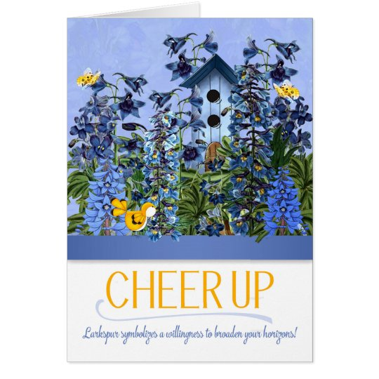 Cheer Up Blue Larkspur Garden with Yellow Canary