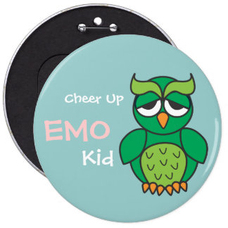 Cheer Up Emo Kid Owl 6 Cm Round Badge
