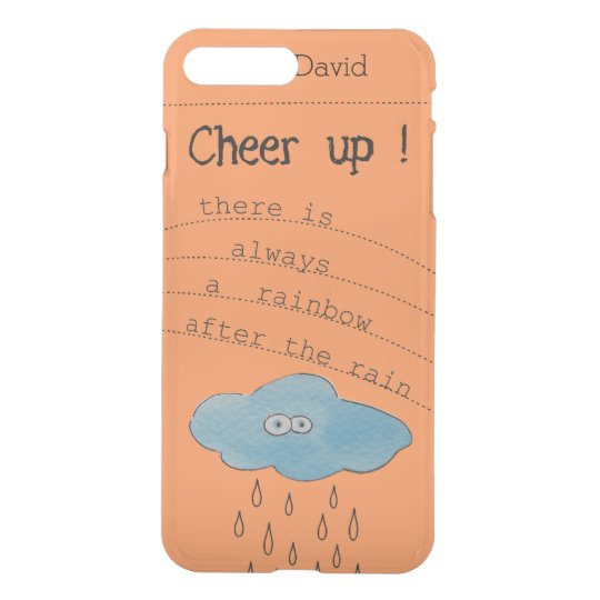 Cheer up!Funny Watercolor Cloud Personalised Name iPhone 8