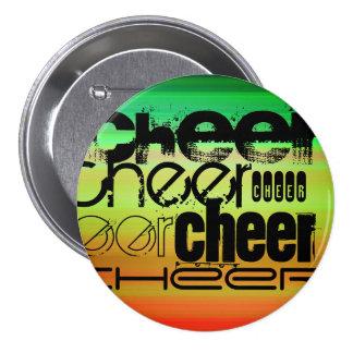Cheer; Vibrant Green, Orange, & Yellow 7.5 Cm Round Badge