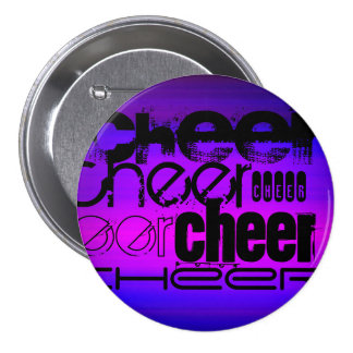 Cheer; Vibrant Violet Blue and Magenta 7.5 Cm Round Badge