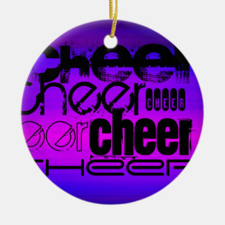 Cheer; Vibrant Violet Blue and Magenta Christmas Ornament