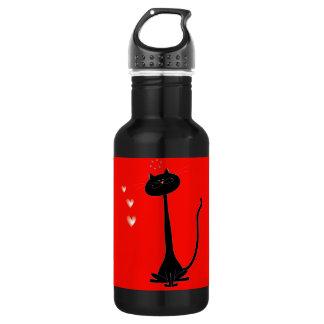 Cheerful Black Cat in Love, Liberty Bottle