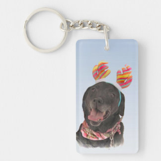 Cheerful Black Labrador Retriever Dog Key Ring