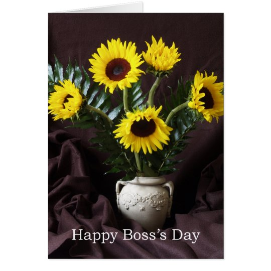 Cheerful Boss Day Greeting -- Sunflowers Card