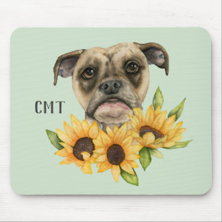 Cheerful | Bulldog Mix with Sunflowers | Monogram Mouse Mat