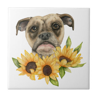 Cheerful | Bulldog Mix with Sunflowers Watercolor Tile