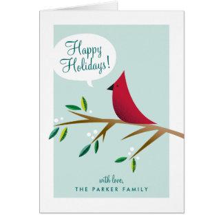 Cheerful Cardinal Folded Holiday Greeting Card