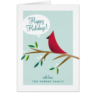 Cheerful Cardinal Folded Holiday Card