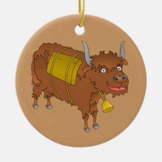 Cheerful cartoon yak christmas ornament