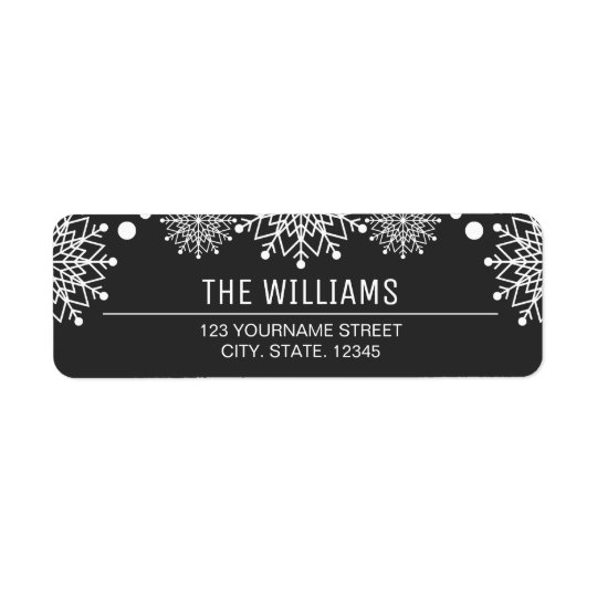 Cheerful Christmas | Black and White Snowflakes Return Address Label