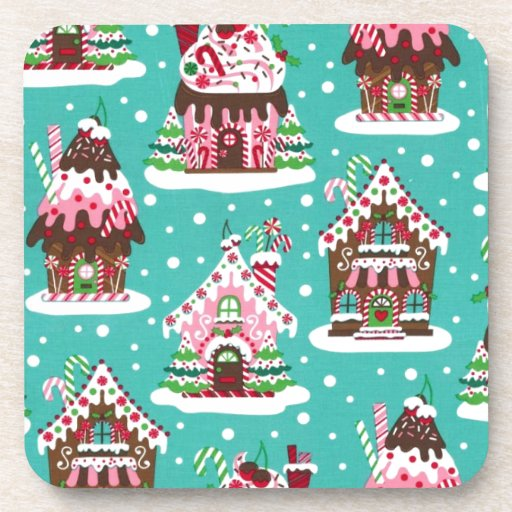 Cheerful Christmas gingerbread house Beverage Coasters