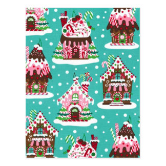 Cheerful Christmas gingerbread house Postcard