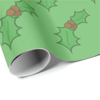 Cheerful Christmas Holly Leaf Red Berries Green Wrapping Paper