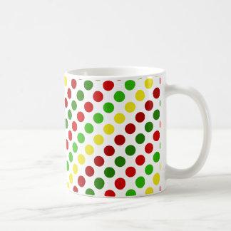 Cheerful Christmas Polka Dot Stripes Basic White Mug