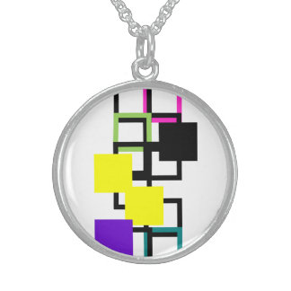 Cheerful Colorful Square Silver Round Necklace