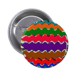 Cheerful Colorful Wave Pattern 6 Cm Round Badge