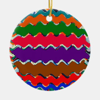Cheerful Colorful Wave Pattern Round Ceramic Decoration