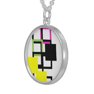 Cheerful Colorful Yellow Square Round Necklace