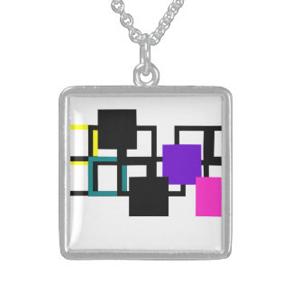 Cheerful Colourful Pink Purple Square Necklace