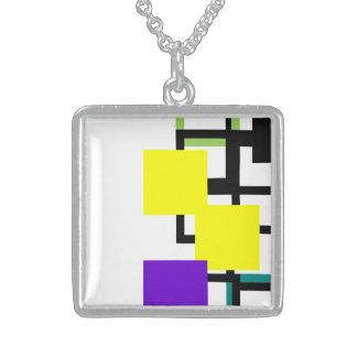 Cheerful Colourful Purple Yellow Square Necklace