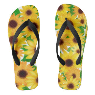 Cheerful European Sunflowers Flip Flops