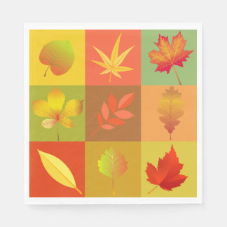 Cheerful Fall Foliage Colorful Buffalo Check Disposable Serviettes