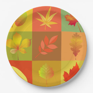 Cheerful Fall Foliage Colorful Buffalo Check Paper Plate