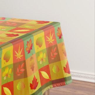 Cheerful Fall Foliage Colorful Buffalo Check Tablecloth