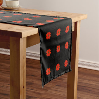 Cheerful flowered poppy flowers designed short table runner