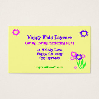 Cheerful Flowers Daycare Card