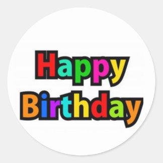 Cheerful Happy Birthday Text Classic Round Sticker
