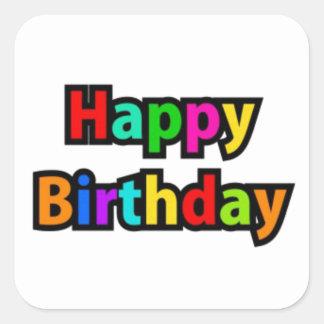 Cheerful Happy Birthday Text Square Sticker