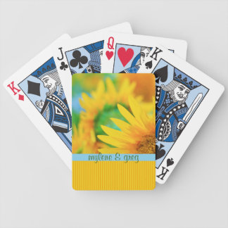 Cheerful Happy Yellow Sunflower Blue Orange Stripe Bicycle Playing Cards