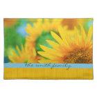 Cheerful Happy Yellow Sunflower Blue Orange Stripe Placemat