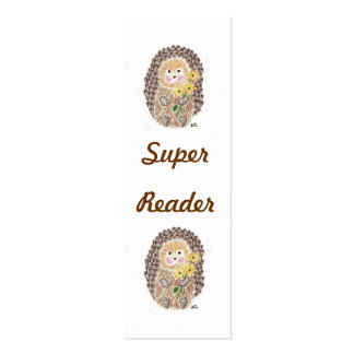 Cheerful hedgehog mini bookmarks pack of skinny business cards