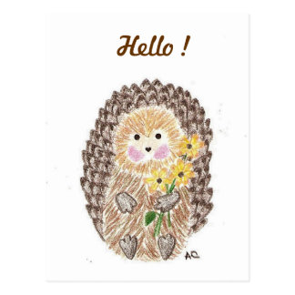 Cheerful hedgehog postcard