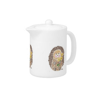 Cheerful hedgehog teapot