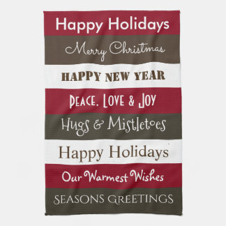 Cheerful Holiday Greetings Kitchen Towels