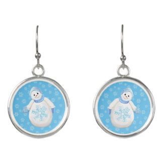 Cheerful Holiday Snowman and Snowflakes Earrings