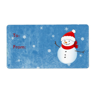 Cheerful Holiday Snowman Avery Label Shipping Label
