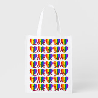 Cheerful love is love rainbow hearts pattern grocery bag