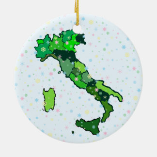 Cheerful Pastel Snowflakes and Map of Italy Round Ceramic Decoration