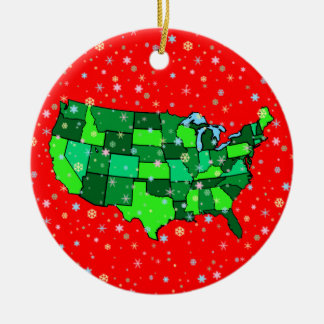 Cheerful Pastel Snowflakes and United States Map Round Ceramic Decoration