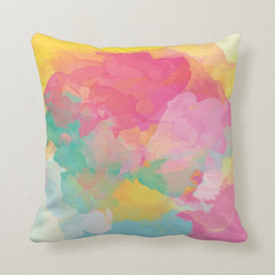 Cheerful Pastel Watercolor Abstract Throw Pillow