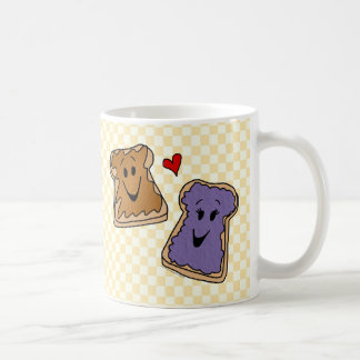 Cheerful Peanut Butter and Jelly Cartoon Friends Coffee Mug