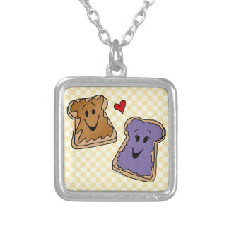 Cheerful Peanut Butter and Jelly Cartoon Friends Square Pendant Necklace
