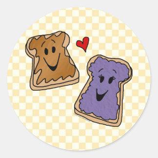 Cheerful Peanut Butter and Jelly Cartoon Friends Round Sticker