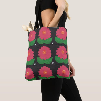 Cheerful Pink Hand Painted WHIMSICAL FLOWER Tote