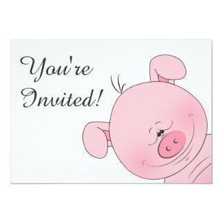 Cheerful Pink Pig Cartoon 13 Cm X 18 Cm Invitation Card